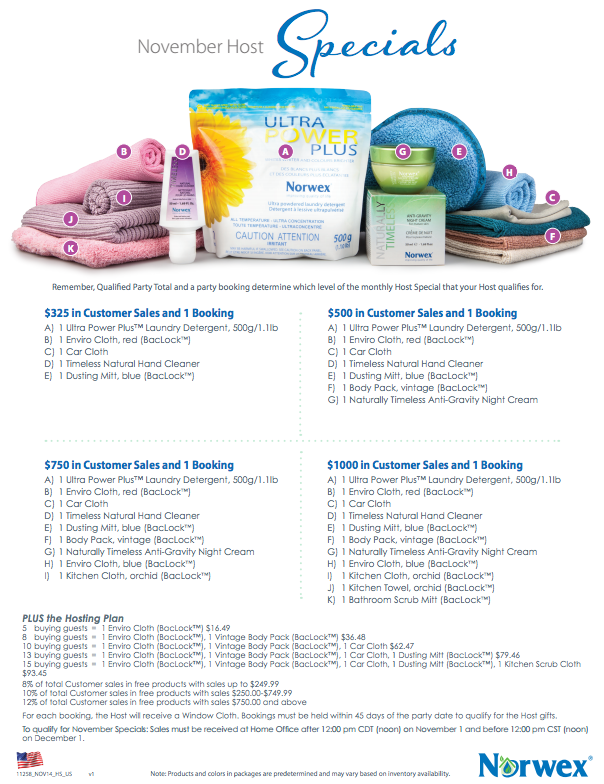 November Norwex Hostess Gifts & Customer Specials!