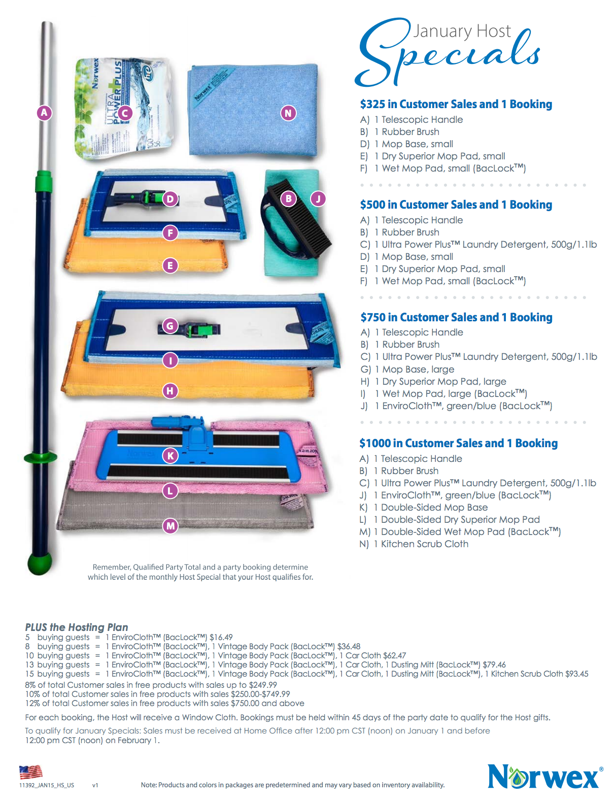 January 2015 Norwex Hostess Gifts and Specials!