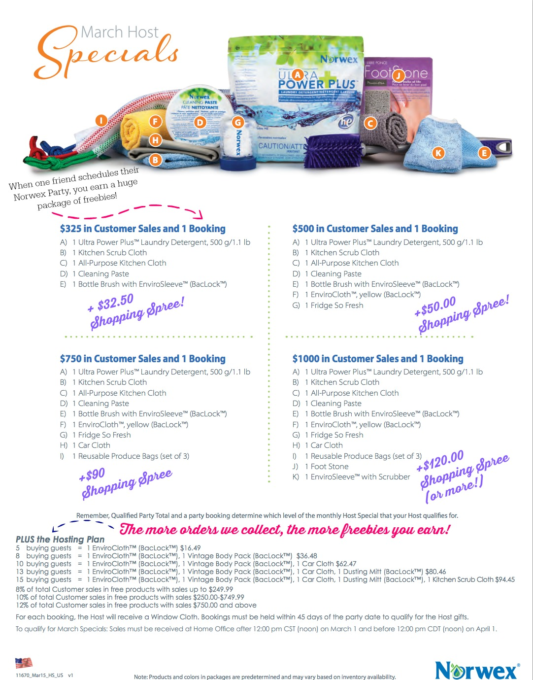 Norwex Hostess and Customer Specials for March 2015