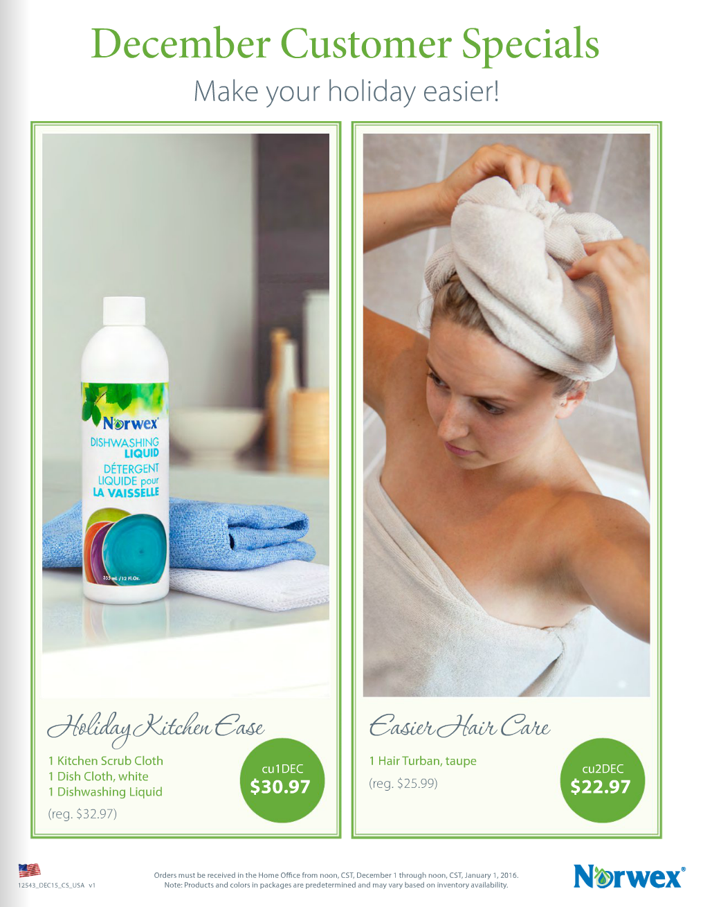 December Norwex Hostess and Customer Specials