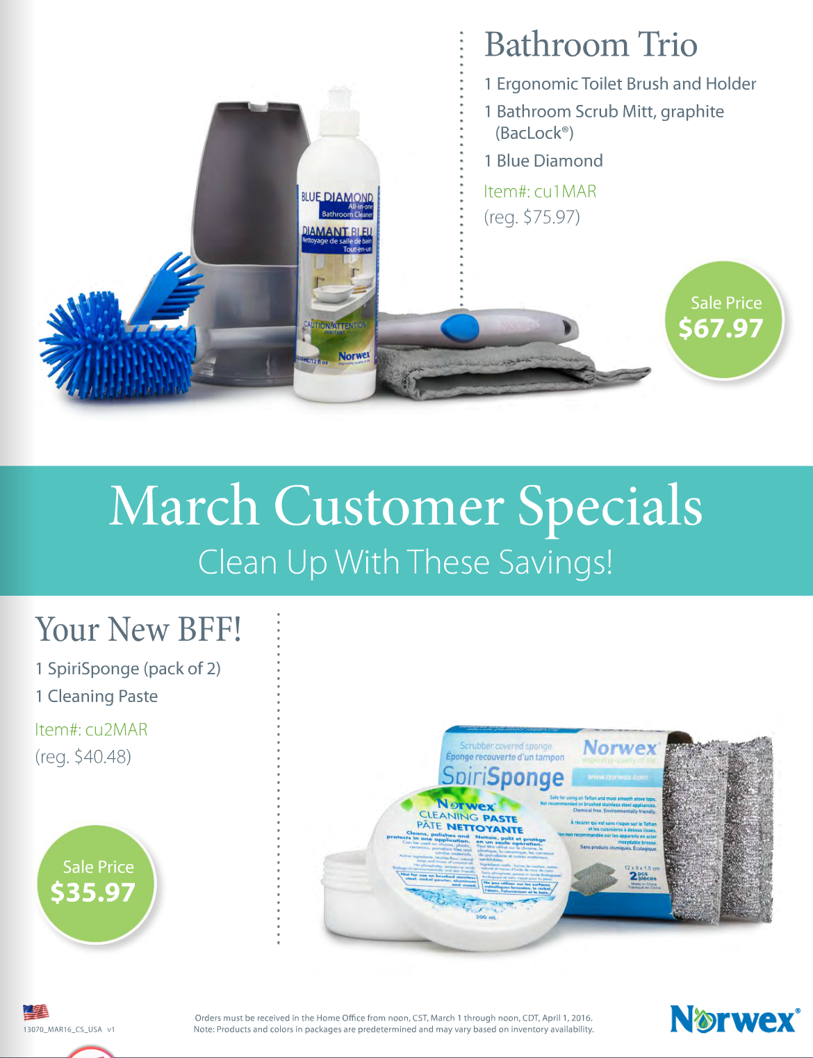Norwex customer shopping specials March