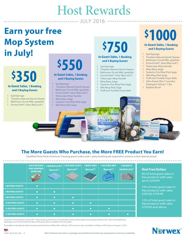 Norwex Hostess and Customer Specials July 2016