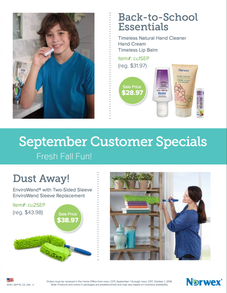 Norwex Customer Specials September 2016