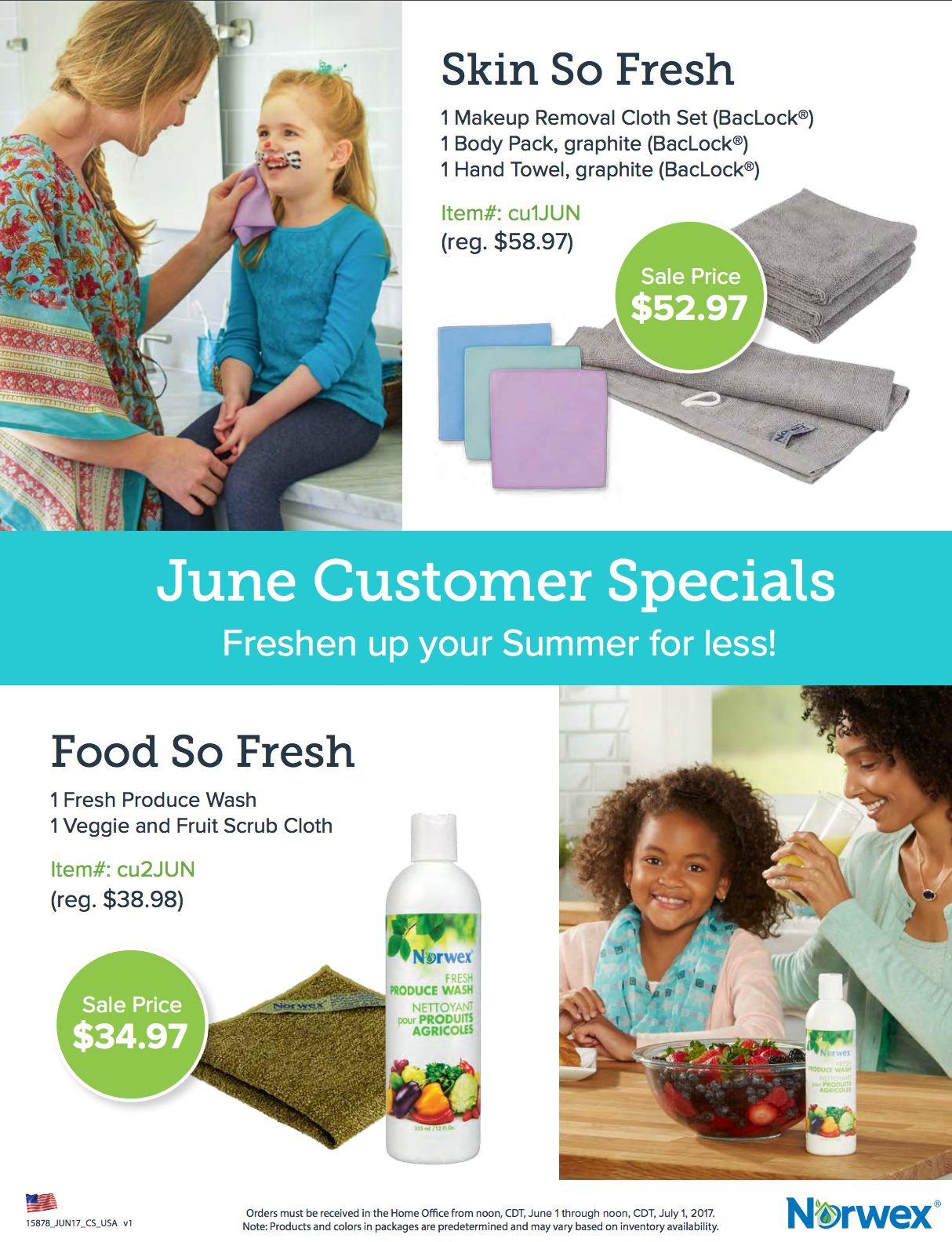 Norwex Hostess Gifts and Customer Specials for June, 2017